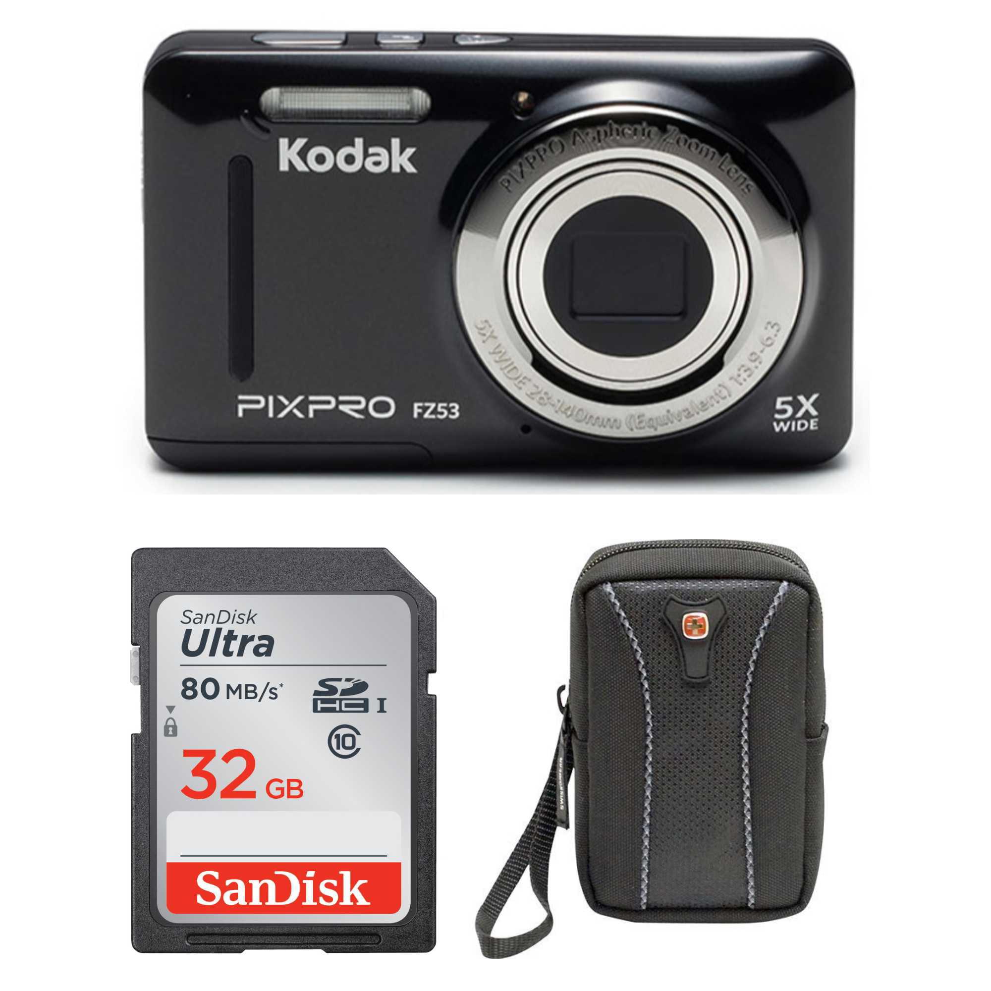 "Kodak PIXPRO Friendly Zoom FZ53 16 MP 5X Optical Zoom and 2.7"" 32GB Bundle"