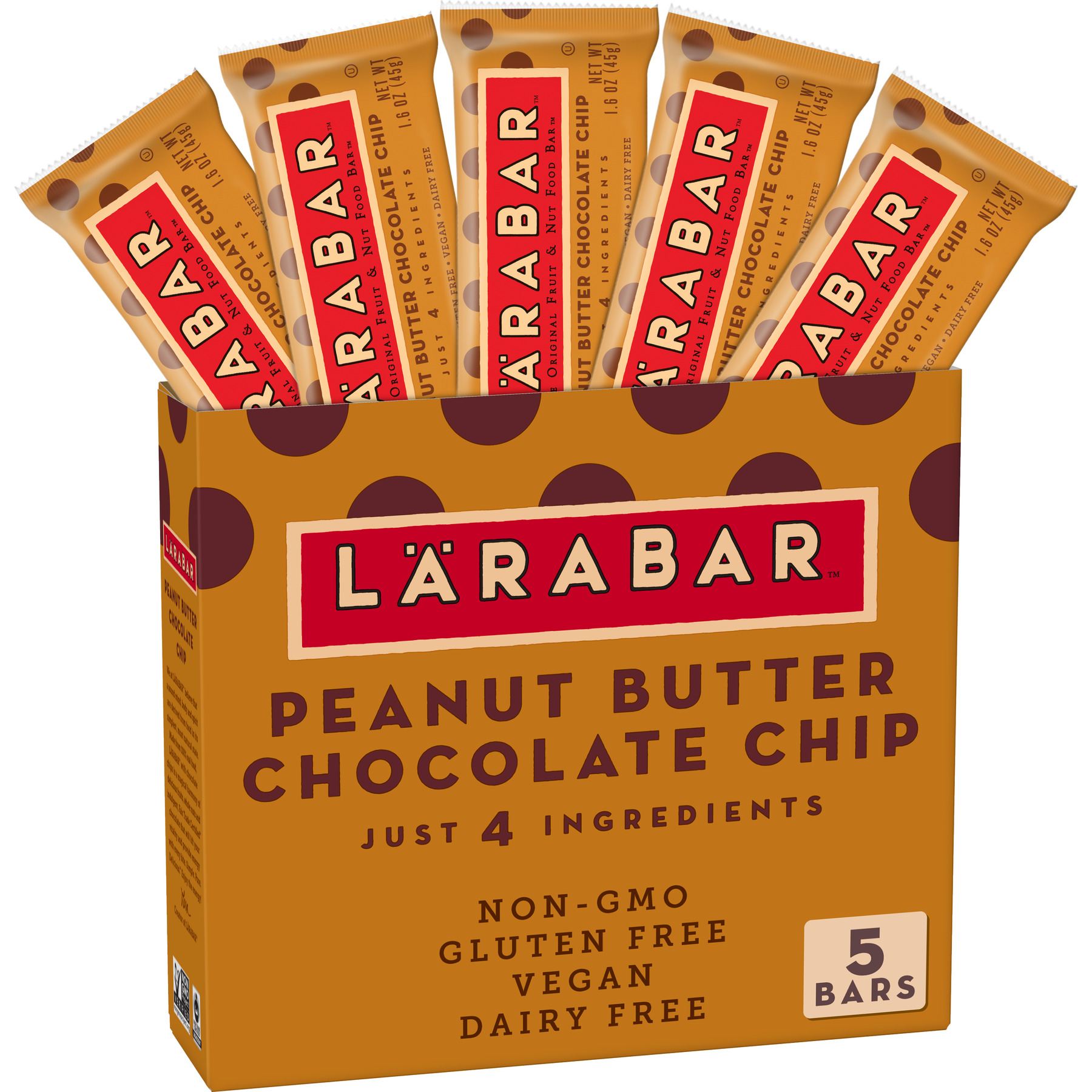 Larabar Gluten Free Bar, Peanut Butter Chocolate Chip, 1.6 oz Bars (5 Count)