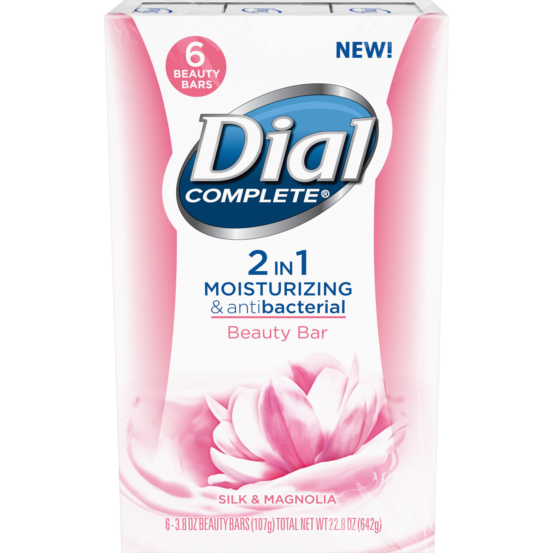 Dial Complete 2 in 1 Moisturizing & Antibacterial Beauty Bar, Silk & Magnolia, 3.8 Ounce, 6 Bars