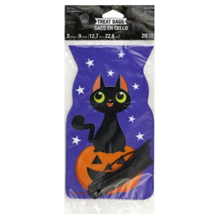 Black Cat Halloween Favor Bags, 20pk