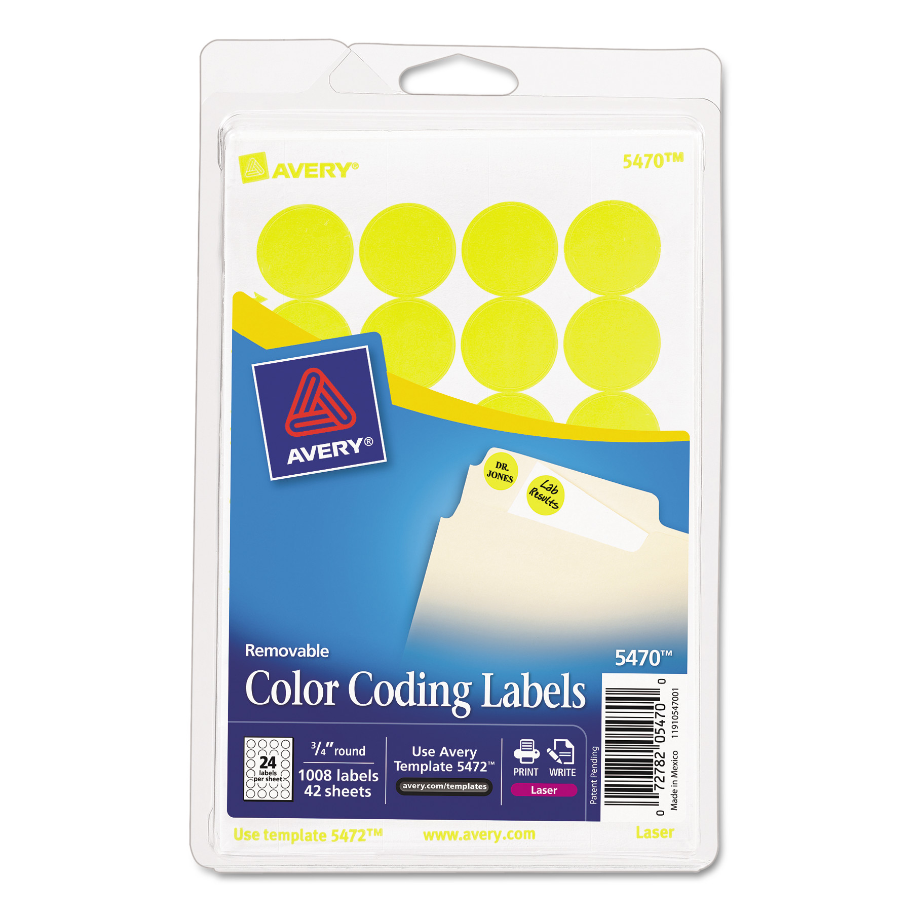 image about Removable Printable Labels identified as Avery Printable Detachable Colour-Coding Labels, 3/4\