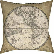 IDG French World Map III Indoor Pillow