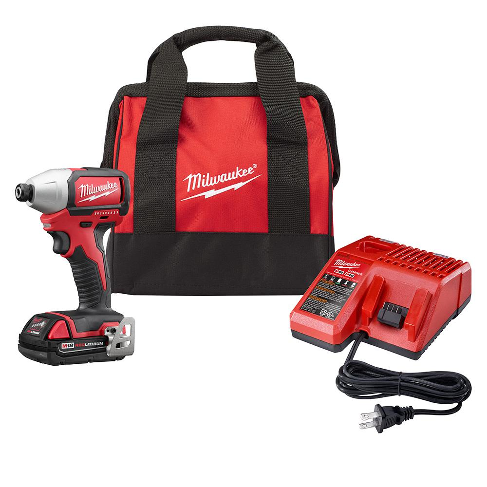 Milwaukee M18 18-Volt Cordless Compact Brushless 1 4 in. Hex Impact Driver Kit 2750-21P by