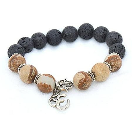 The Art of Cure OM & HAMSA Healing Aromatherapy Bracelet 9.5 in. - Lava Stone & Picture Jasper