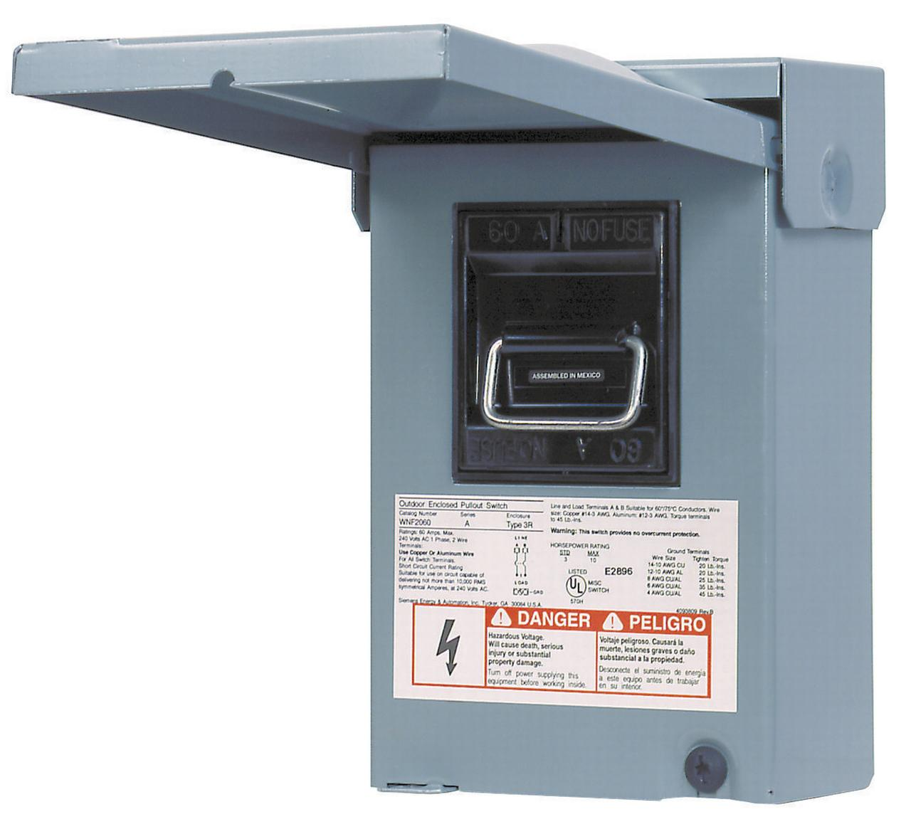 Siemens Energy WN2060U AC Disconnect Switches, Outdoor, Nema 3R, 60 Amp