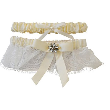 Womens Bridal Wedding Faux Rhinestone Lace Trim Satin Bow Garter Set