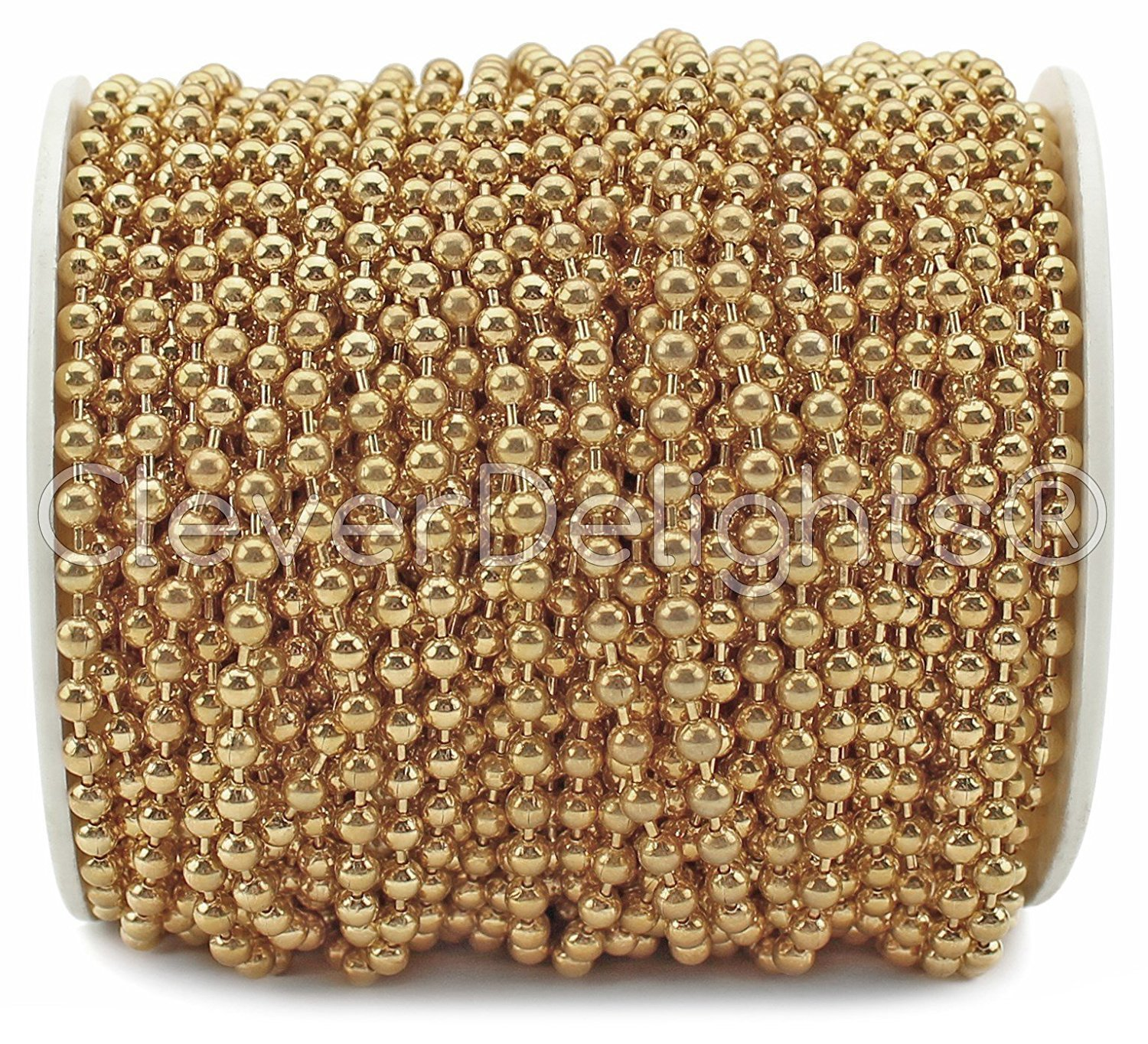 CleverDelights Ball Chain Spool - 30 Feet - 3.2mm Ball - Champagne Gold Color