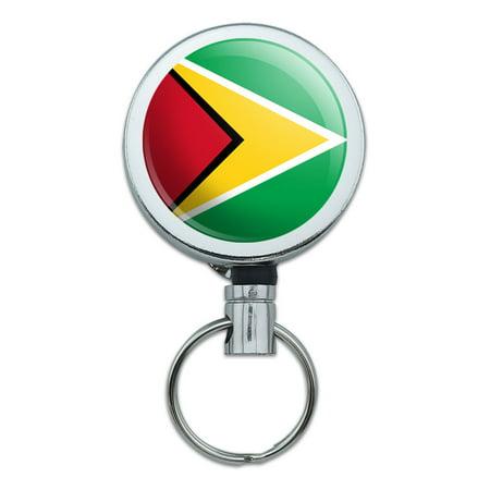 Guyana National Country Flag Retractable Belt Clip Badge Key Holder