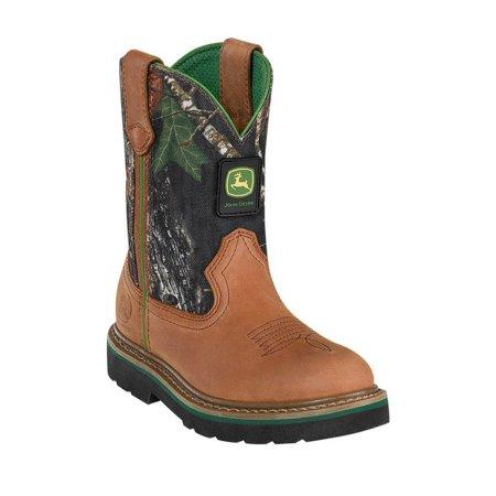 Johnny Popper Western Boots Boys Kid John Deere Cowboy Tan Camo - John Smith Boots