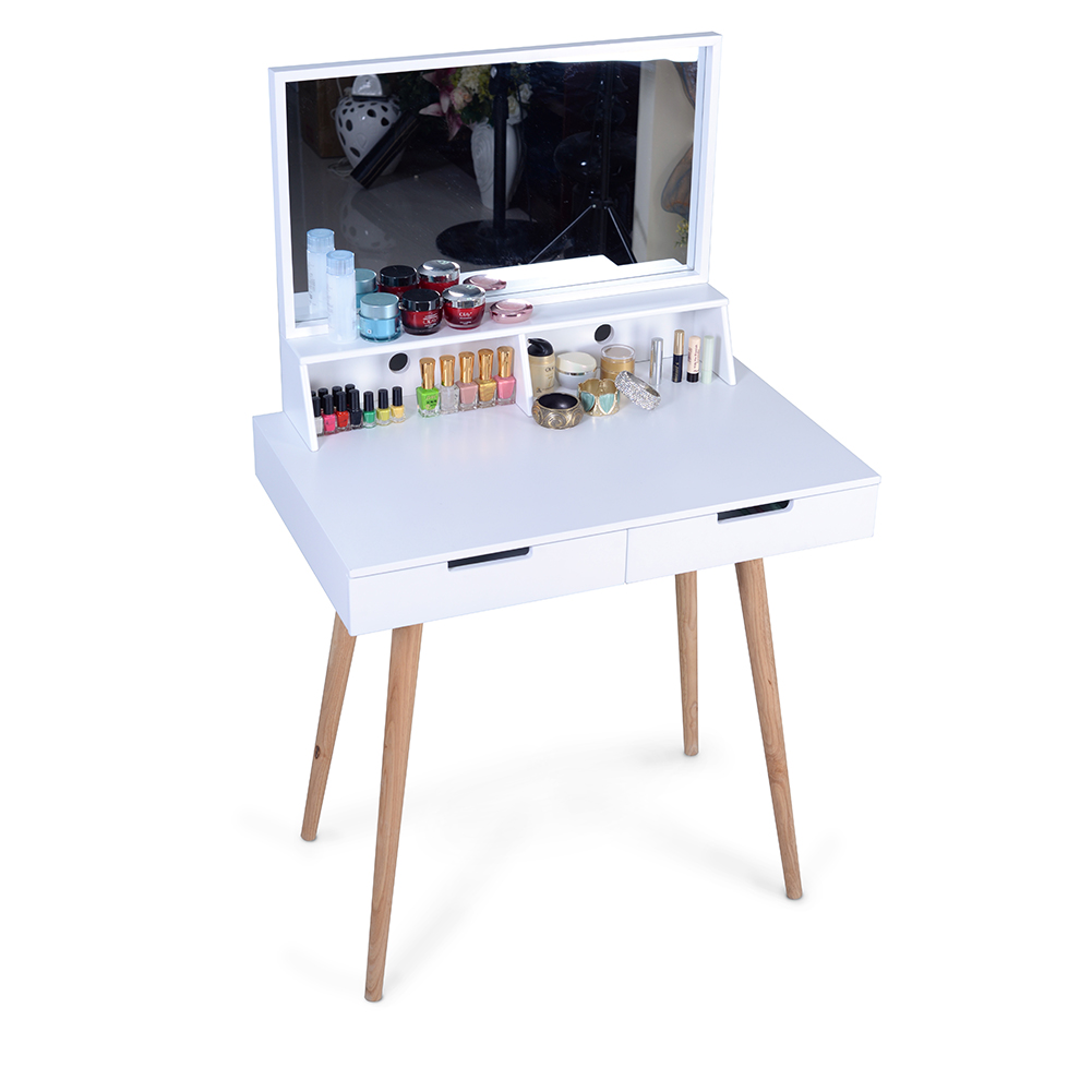 Organizedlife Vanity Dressing Table Dressing Mirror with 2 Makeups Drawers,White
