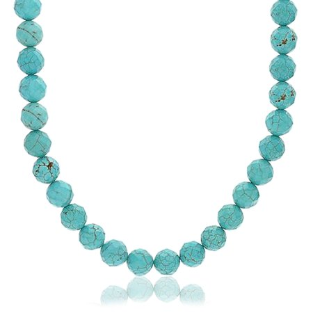 Blue Compressed Turquoise Round Gem Stone 10MM Bead Strand Necklace For Women For Men Silver Plated Clasp 18 Inch ()