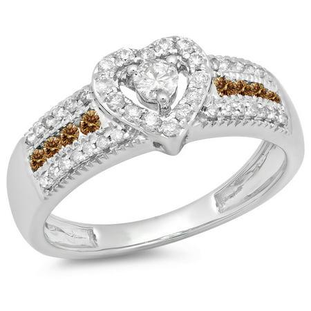 0.55 Carat (ctw) 18K White Gold Round Cut Champagne & White Diamond Ladies Bridal Heart Shaped Promise Engagement Ring 1