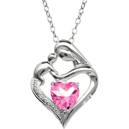 Created Pink Sapphire and Diamond Accent Pendant in Sterling Silver, (Pink Sapphire Circle Pendant)