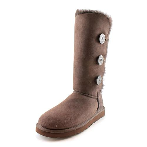 Ugg Australia Bailey Button Triplet Women's Chocolate Winter Boots 1873 Size 7
