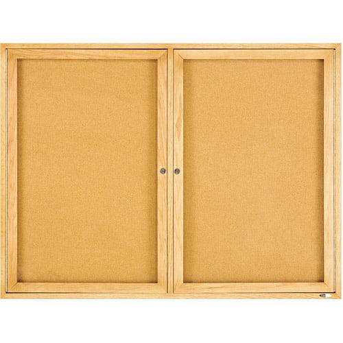 "Quartet Enclosed Bulletin Board, Natural Cork/Fiberboard, 48"" x 36"", Oak Frame"