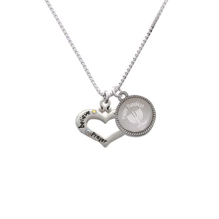 Silvertone Heart with 3 AB Crystals - Believe Faith Prayer - Happy Hanukkah Menorah - Hanukah Prayer