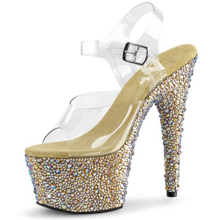 791f5c9d91e4 Womens Platform Shoes Sparkly Rhinestone Clear Ankle Strap Sandals 7 ...