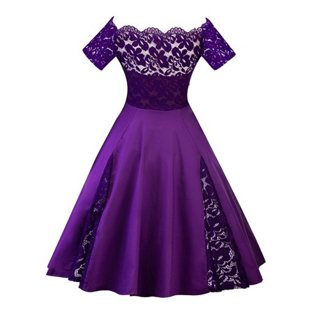 Oversized Women Plus Size Off Shoulders Vinatge Cocktail Dress Lace Short Sleeve Retro 50s 60s Rockabilly Prom Ball Gown (Childrens 60s Dress Up)