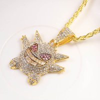 SHIYAO Zircon Hip Hop Pendant Pokemon Gengar Pendant HIPHOP Hip Hop Necklace