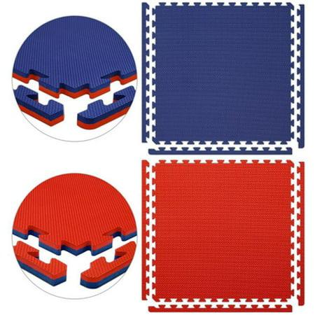 Alessco JSFRRDRB1MX1MI Jumbo SoftFloors-Rouge-Royal r-versible bleu -10 piece paquet 1m x 1m x 0,875 pouces - l'int-rieur avec trois attach- Corners-fronti-res - image 1 de 1