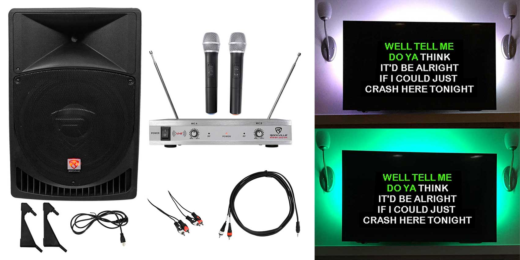 "Rockville 15"" Powered Karaoke Machine System w LED's+(2) Wireless Microphones by ROCKVILLE"