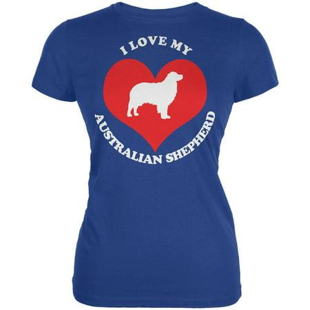 Valentines I Love My Australian Shepherd Royal Juniors Soft T-Shirt