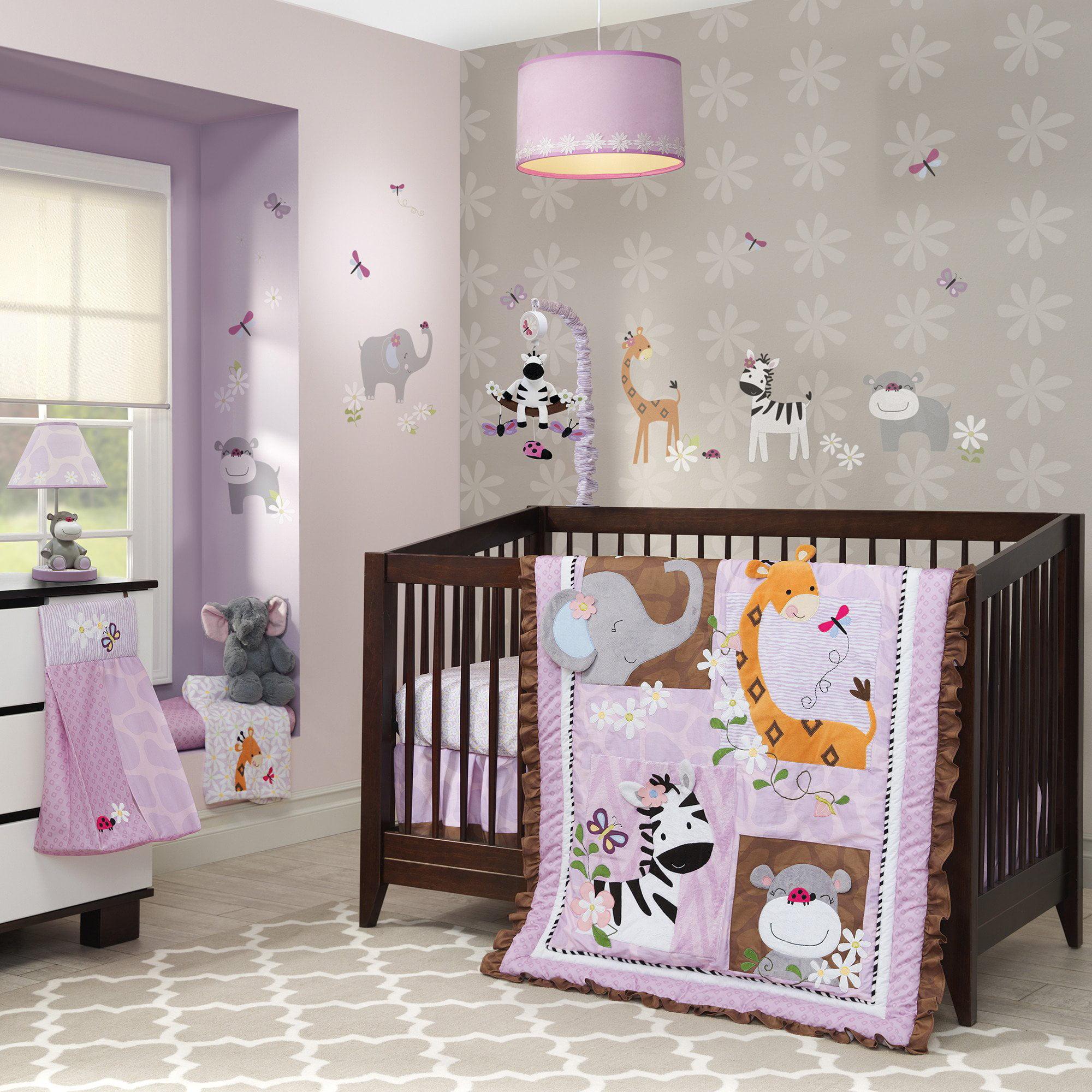 Lambs & Ivy Ladybug Jungle 4-Piece Crib Bedding Set - Brown, Purple, Animals