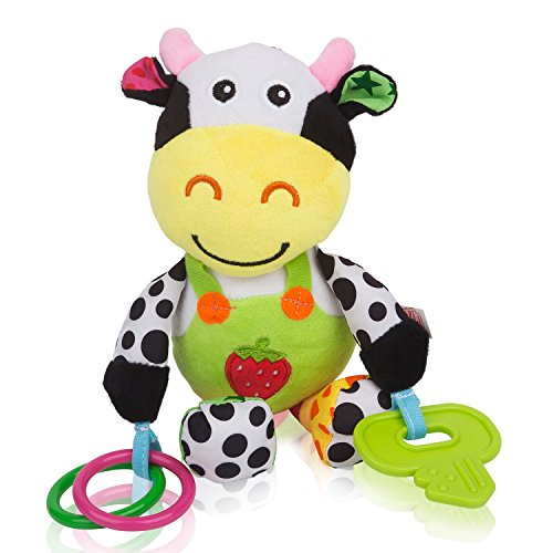 Zig Zag Kid Musical Cow Soft Plush Baby Rattle with Teether by Zig Zag Kid