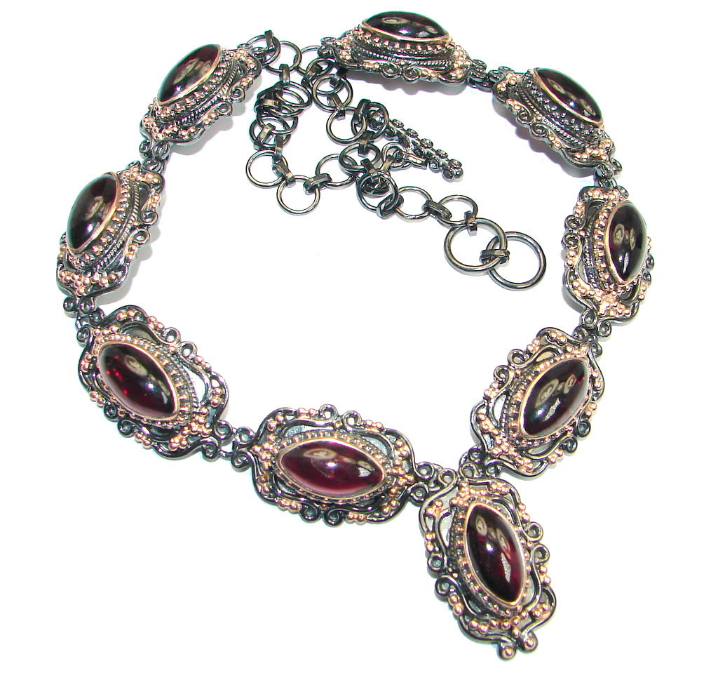 Handmade Natural Rhodolite Garnet Rose Gold plated over 925 Sterling Silver necklace by SilverRush Style by