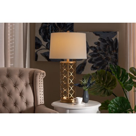 Baxton Studio Nelma Modern and Contemporary Gold Finished Metal Quatrefoil Cage Table Lamp ()