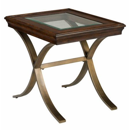 Jofran Ashland Glass Top End Table in Rich Chocolate Jofran Fixed Top