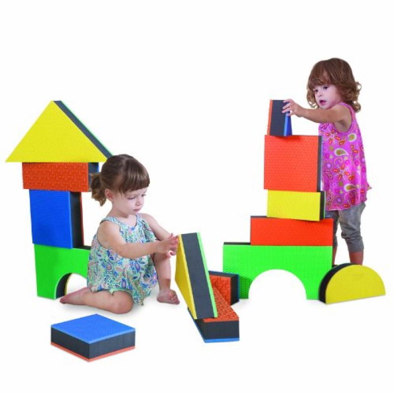 "Edushape 2.5"" Jumbo Textured Blocks, Set of 32 toys by Edushape"