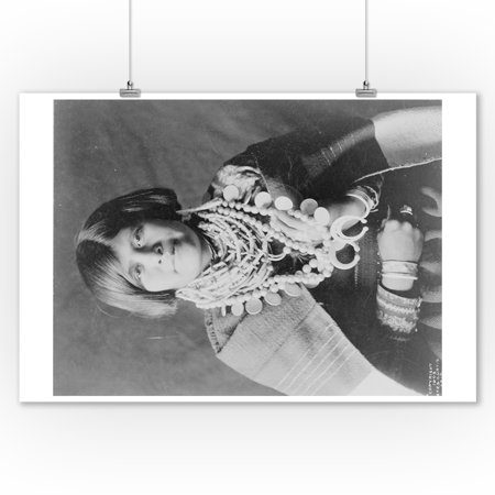 Zuni Native American Indian Girl with Necklaces Photograph (9x12 Art Print, Wall Decor Travel - American Indian Print