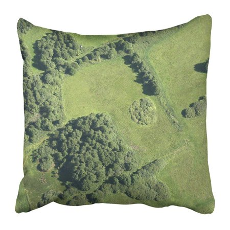BPBOP Green Forest Aerial View of Summer Field Brown Tree Grass Landscape Wood Meadow Air Filed Pillowcase 20x20 inch