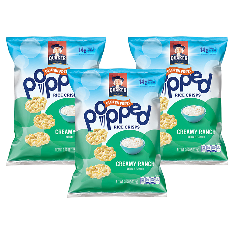 (3 Pack) Quaker Rice Crisps, Buttermilk Ranch, 6.06 oz Bag (Packaging May Vary)