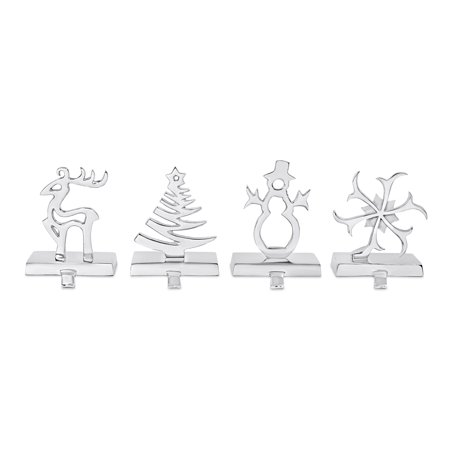 BirdRock Home Whimsical Stocking Holder Set of 4 for Mantle - Snowflake, Snowman, Reindeer, Tree - Holiday Christmas Decorations - Stainless Steel Hooks Fireplace - Heavy Stand - Silver ()