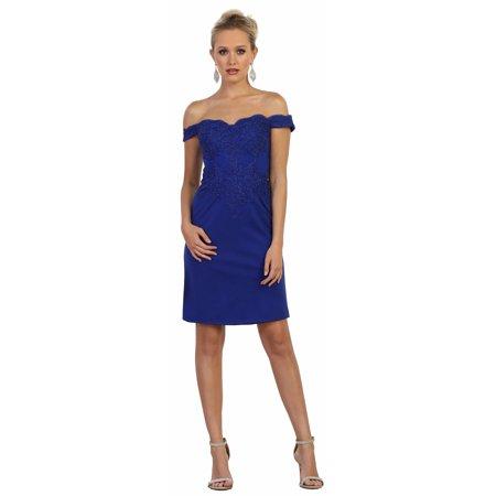 5b76f79257 May Queen - Off The Shoulder Semi Formal Dress - Walmart.com