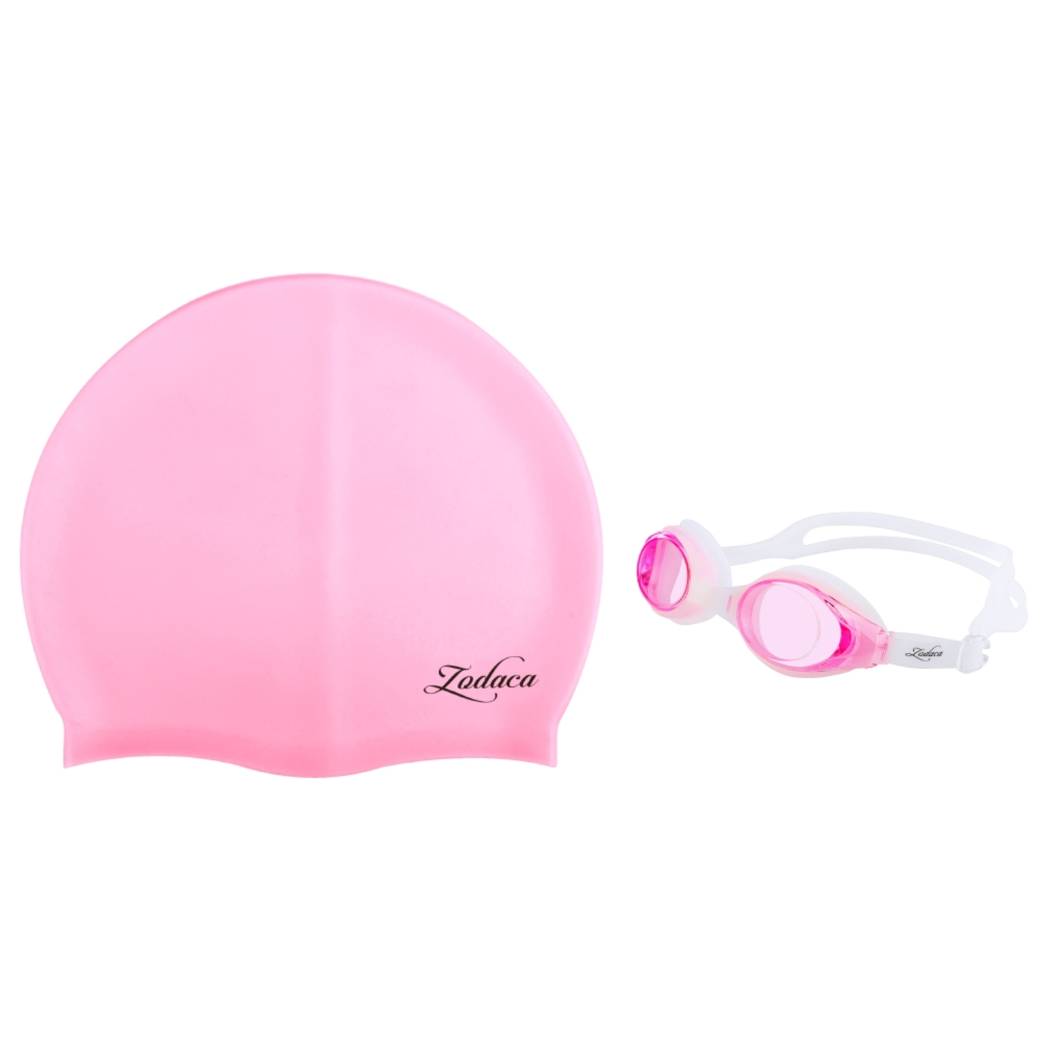 Zodaca Kids Child Adjustable Non-Fogging Anti UV Swim Swimming Goggles+Silicone Elastic Swimming Hat Swim Cap Pink by
