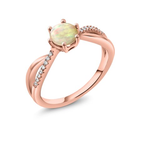 0.75 Ct Round Cabochon White Ethiopian Opal 18K Rose Gold Plated Silver Ring