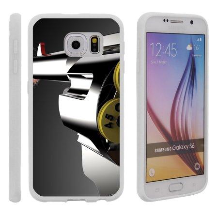 Samsung Galaxy S6 G920, Flexible Case [FLEX FORCE] Slim Durable TPU Sleek Bumper with Unique Designs - Old (Revolver Design)