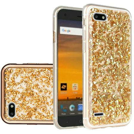 ZTE Blade Force Case, by HR Wireless Frozen Glitter Dual Layer [Shock  Absorbing] Hybrid Hard Snap-in Case Cover For ZTE Blade Force, Gold
