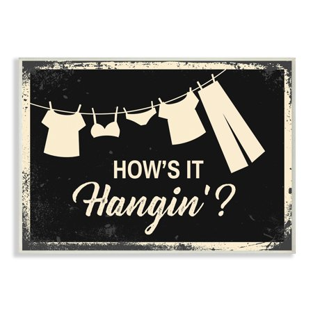 The Stupell Home Decor Collection Hows It Hanging Laundry Line Industrial Oversized Wall Plaque - Oversize Hanging