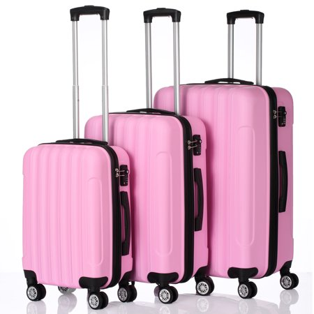 Carry-on Luggage for Airplane, Trolley Luggage Sets w/ Spinner Wheels, TSA Lock, Lightweight Hard Case luggage, Large Capacity Traveling Storage Suitcase, Rolling Luggage for Women, Pink, W2543 Plaid Large Rolling Luggage