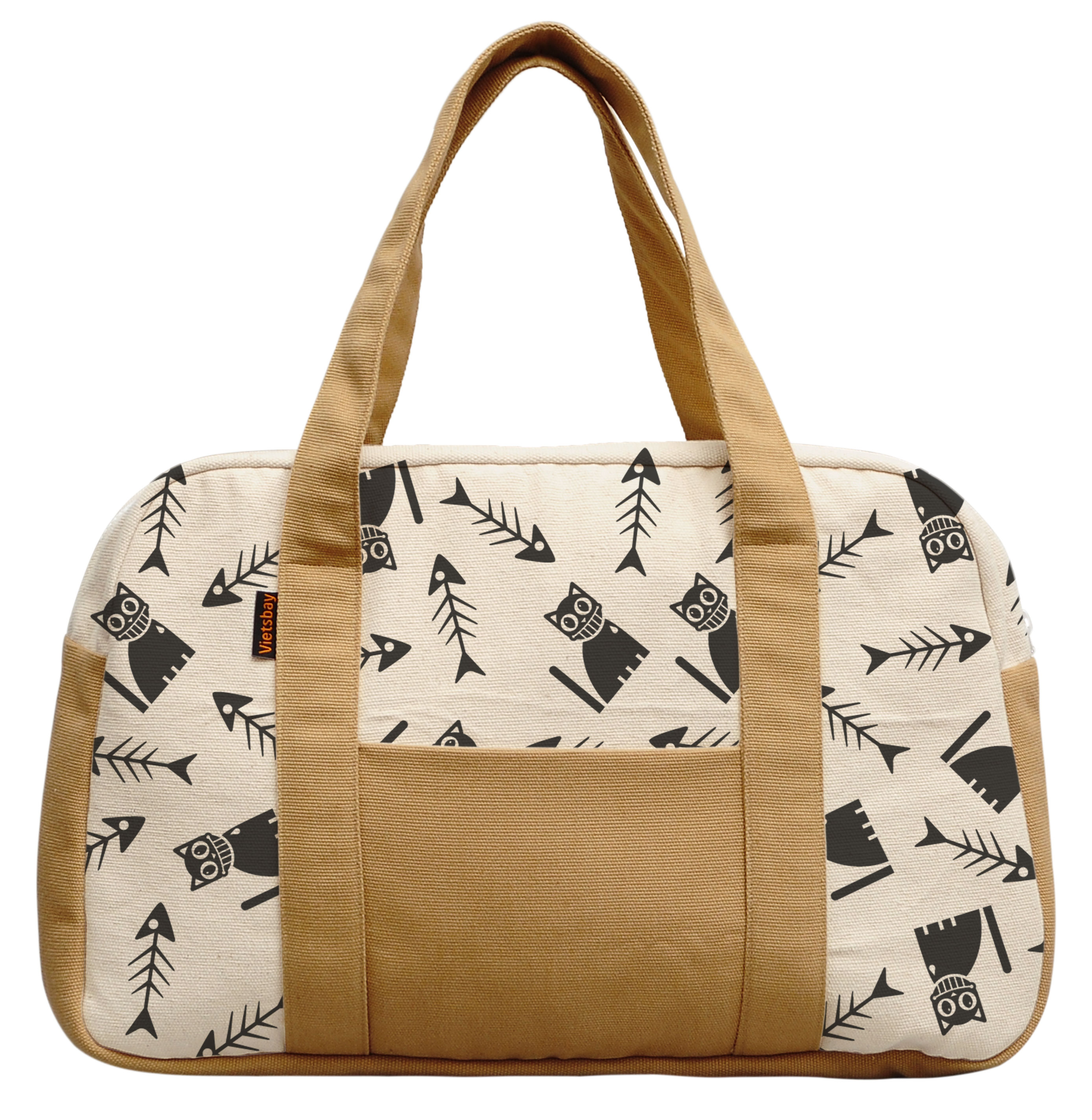 Women's Happy Cat With Bone Fish Beige Printed Canvas Duffel Travel Bags WAS_19 by Vietsbay
