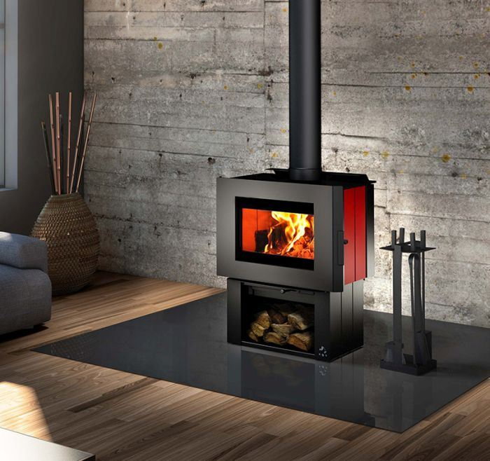 Soho Wood Stove w/Red Enameled Side Panels and Regular Pedestal