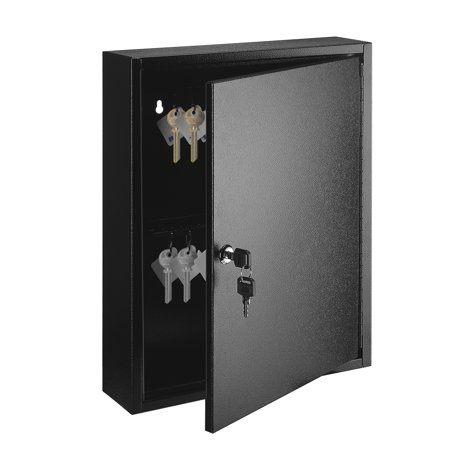 Key Cabinet Steel Lock Box with 60 capacity Colored key Tags & Hooks - Wall Mounted Safe Organizer, Security Storage Lock Box System for Homes, Hotels, Schools or Business