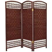 Oriental Furniture 4 ft. Tall Fiber Weave Room Divider, Dark Red, 3 panel