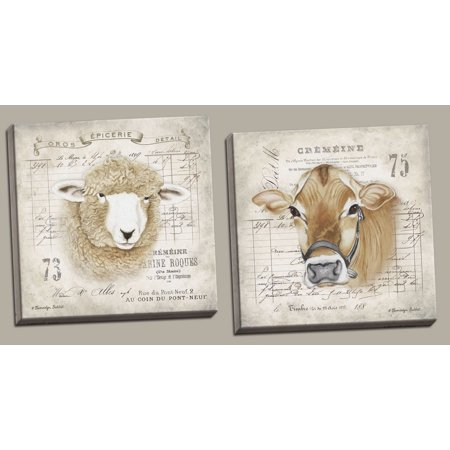 Lovely French Farm Animals Cow And Sheep Country Decor Two 16x16in Hand Stretched Canvases