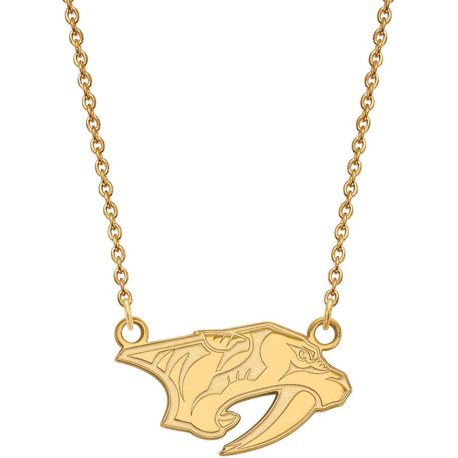 LogoArt NHL Nashville Predators 10kt Yellow Gold Small Pendant with Necklace
