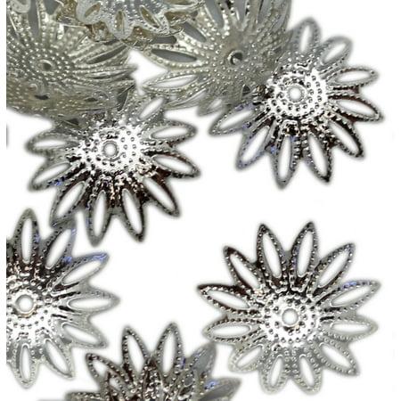 18x4mm Silver Metal Flower Petal  Bead Cap (50 Piece) - Jewelry Beads